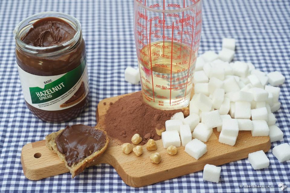 recept voor homemade choco-notenpasta zonder suiker etiketten lezen